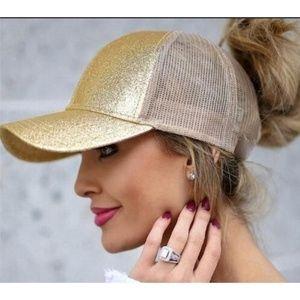 Accessories - Gold Glitter Ponytail Baseball Cap Trucker Hat
